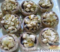 Шампиньоны фаршированные курицей под сырной корочкой - рецепт пошаговый с фото
