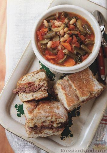 Рецепт Быстрый фасолевый суп с фаршированной чиабаттой