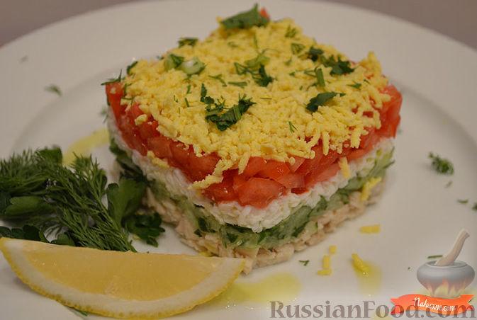 Слоеный салат из овощей с майонезом