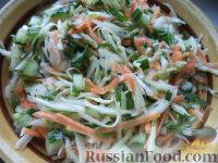 Фото к рецепту: Салат из белокочанной капусты, огурцов и моркови
