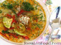 Фото к рецепту: Суп с кабачками и тефтельками