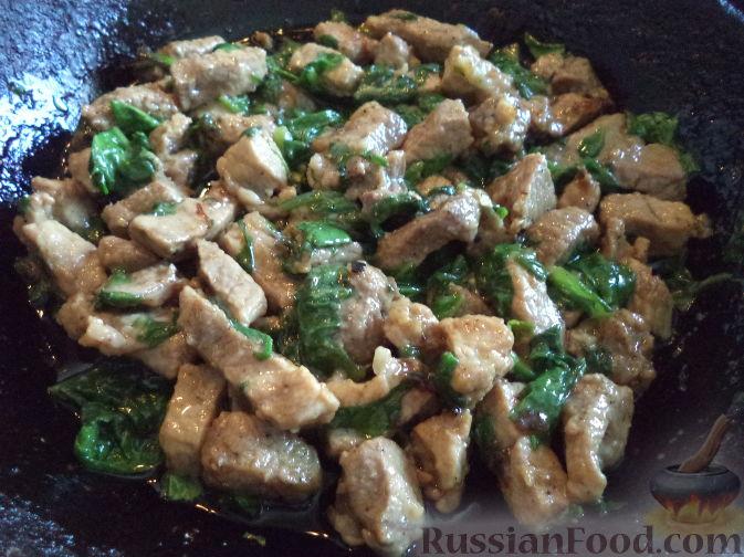 Рецепт шпината с мясом