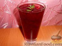 Фото к рецепту: Лимонад с чёрной смородиной и мятой