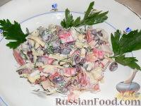 Фото к рецепту: Салат с крабовыми палочками и фасолью