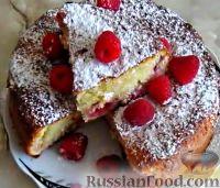 Фото к рецепту: Творожный кекс с малиной
