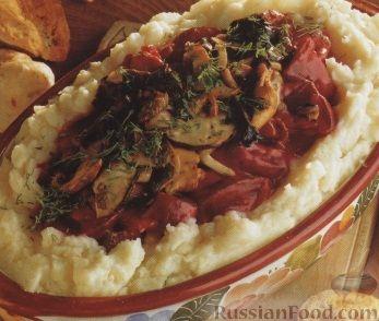 Рецепт Картофельное пюре, запеченное с грибами и свеклой