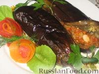 Фото к рецепту: Печеные фаршированные баклажаны
