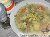 Фото к рецепту: Суп с кукурузой и копченым рыбным филе