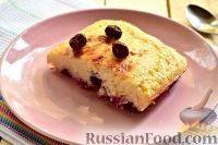 Фото к рецепту: Творожный пудинг с вишней