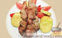 Фото к рецепту: Шашлык из свинины с овощами (в духовке)