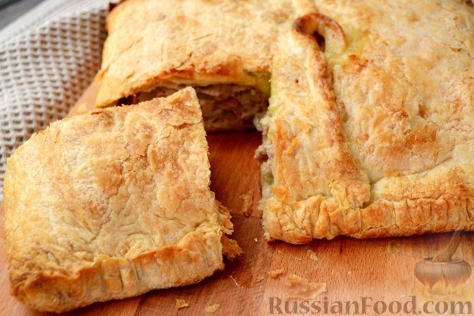 Пирог слоеное тесто фарш картофель рецепт