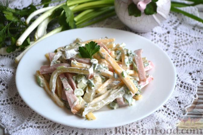 рецепты салатов из маринованных огурцов с колбасой