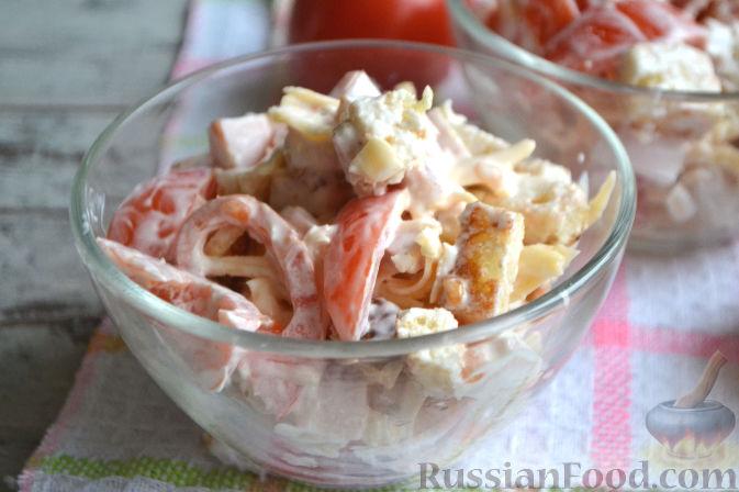 Рецепт салата из сыра ветчины