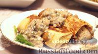 Фото к рецепту: Блины с картошкой, с грибным соусом