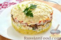 Фото к рецепту: Салат с грибами и ветчиной