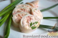 Фото к рецепту: Кальмары, фаршированные творогом и креветками