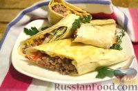 Фото к рецепту: Домашняя шаурма с мясным фаршем и сыром