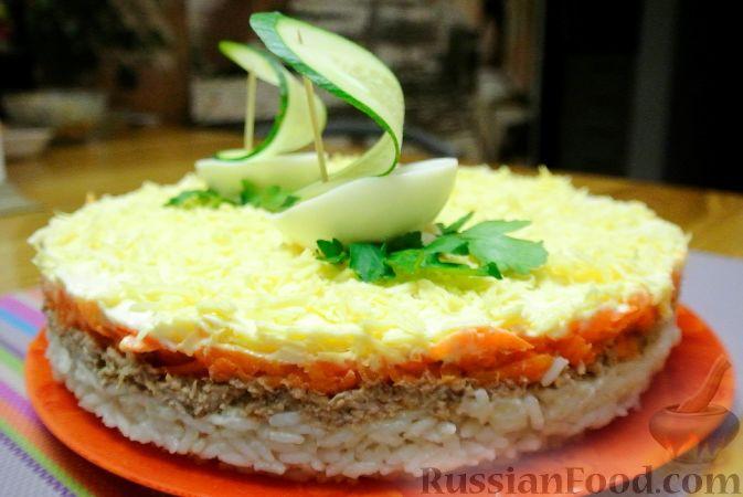 салат с рисом и тунцом слоеный рецепт