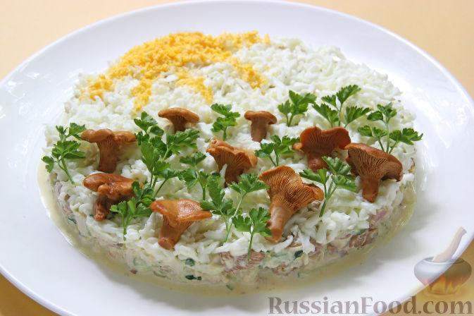 рецепт салата курица под шубой с копченой с грибами