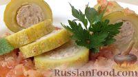 Фото к рецепту: Фаршированные кабачки в томатном соусе