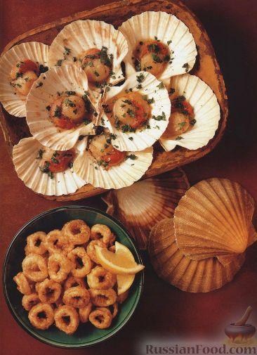 Рецепт Жареные морские гребешки и кальмары