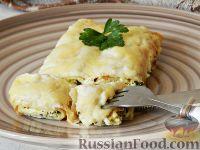 Фото к рецепту: Каннеллони из блинчиков, с творогом и шпинатом
