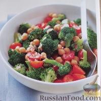 Фото к рецепту: Салат из брокколи, турецкого гороха и томатов