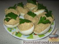 Фото к рецепту: Яйца, фаршированные печенью