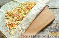 Рулет из лаваша с корейской морковью, копченой колбасой и грибами - рецепт пошаговый с фото