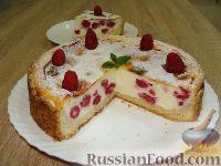 Фото к рецепту: Творожно-малиновый пирог
