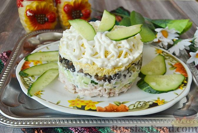 слоеный салат из копченой курицы рецепт с фото