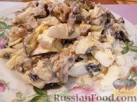 Фото к рецепту: Салат из баклажанов, яиц и лука