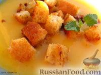 Фото к рецепту: Картофельный суп-пюре с грибами и гренками