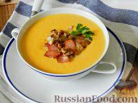 Фото к рецепту: Суп-пюре из тыквы, с беконом и орехами