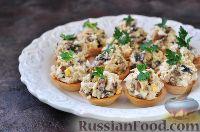 Корзиночки из слоеного теста с курицей и грибами - рецепт пошаговый с фото