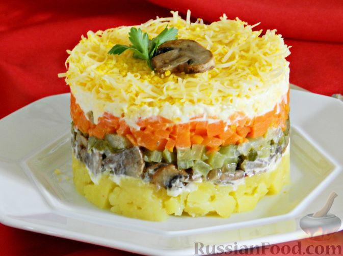 Салат с шампиньонами и морковью и сыром