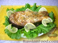 Фото к рецепту: Запеченный стейк толстолобика в медово-горчичном маринаде