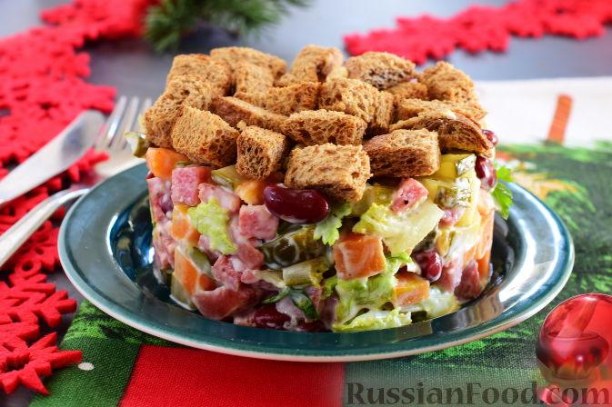 рецепт салата немецкий с колбасой и фасолью