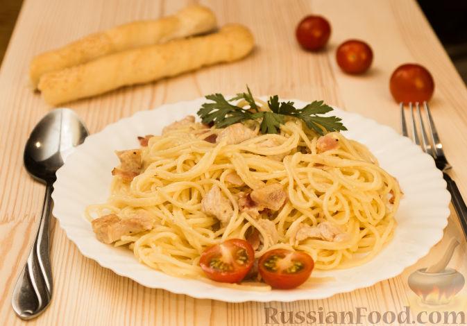 Спагетти карбонара с курицей