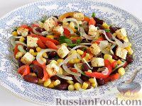 Фото к рецепту: Салат с фасолью, кукурузой и болгарским перцем