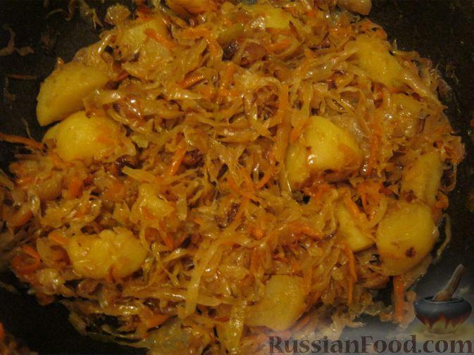 Картошка с кислой капустой