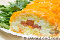 """Фото приготовления рецепта: Салат-закуска """"Царский рулет"""" - шаг №5"""