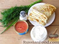 Блины со сливочным сыром и икрой - рецепт пошаговый с фото