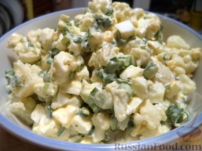 салат с цветной капустой и яйцами рецепт