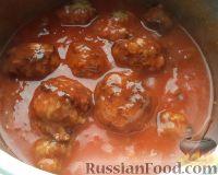 Фото к рецепту: Фрикадельки с томатной подливкой