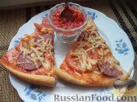 Фото к рецепту: Пицца с колбасой и помидорами, на тонком тесте