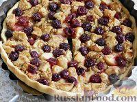 Фото к рецепту: Киш с яблоками и вишней