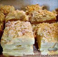Фото к рецепту: Слоеное пирожное «Наполеон»
