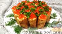 Фото приготовления рецепта: Рыбные блины с красной икрой - шаг №11