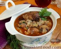 Фото к рецепту: Свинина с куриной печенью в красном вине